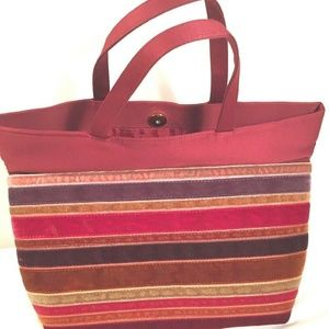 Bath & Body Works Bag Purse Tote Red Snap Stripped